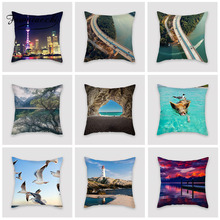Fuwatacchi Characteristic Scenery Cushion Cover Gorgeous Night View Pillow For Home Car Chair Decoration Pillowcase