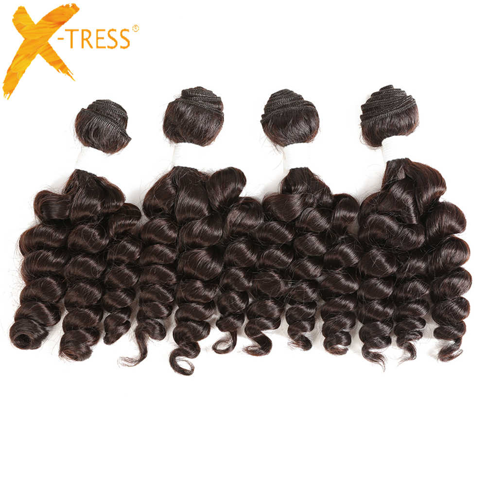 X-TRESS 16-18inches Funmi Curly Synthetic Hair Weaves 4 Bundles Ombre Brown Color Short Hair Weft Extension Heat Resistant Fiber