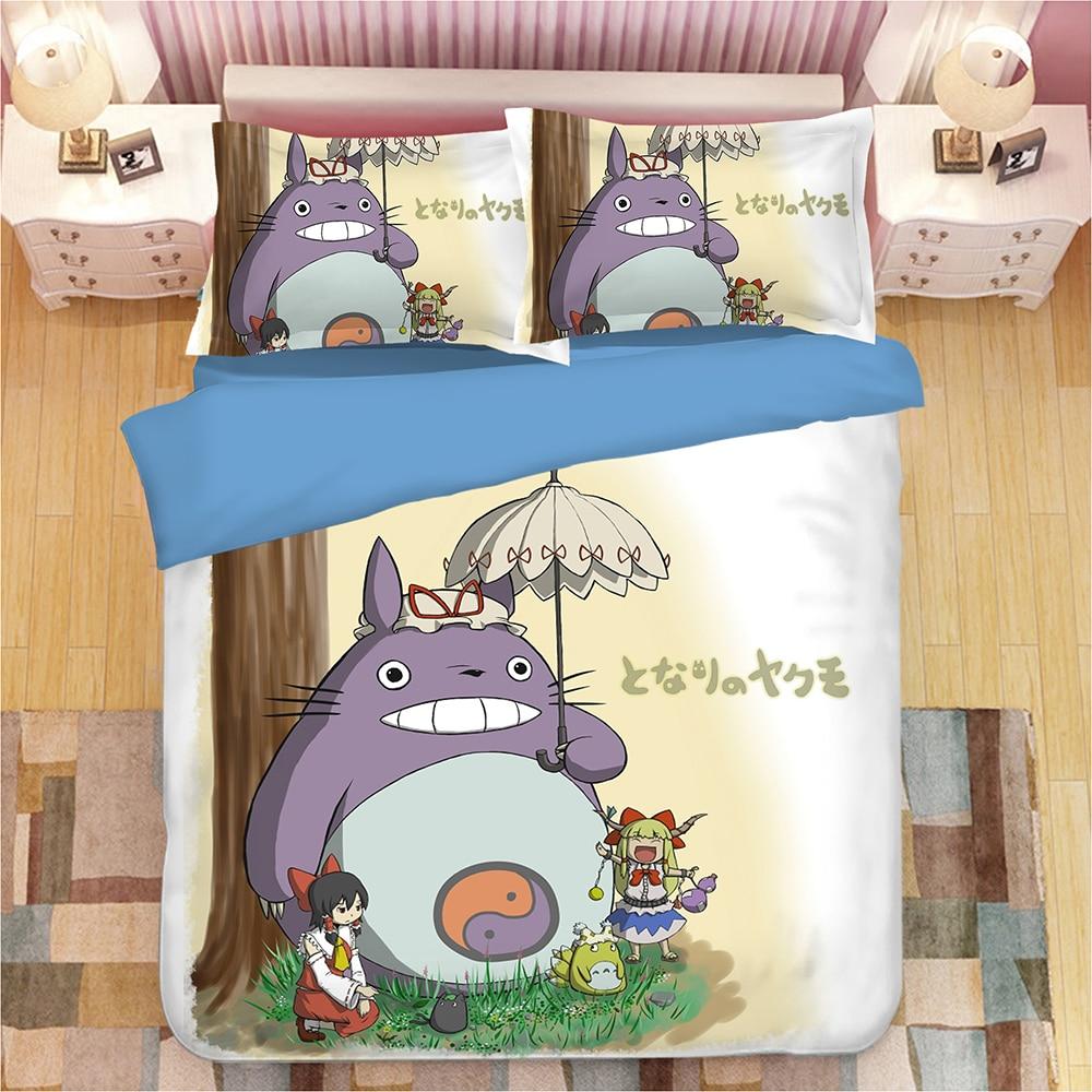 Belle Totoro ensemble de literie enfants coloré bande dessinée housse de couette ensemble parapluie imprimé housse de couette roi reine literie taie d'oreiller 3 pièces