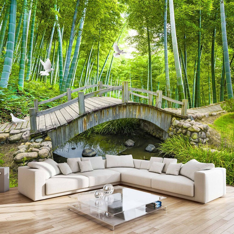 Mural Wallpaper For Wall Custom 3D Nature Scenery Photo Wall Paper Roll Green Forest Bridge Wall Mural Sofa Backdrop Wallpaper