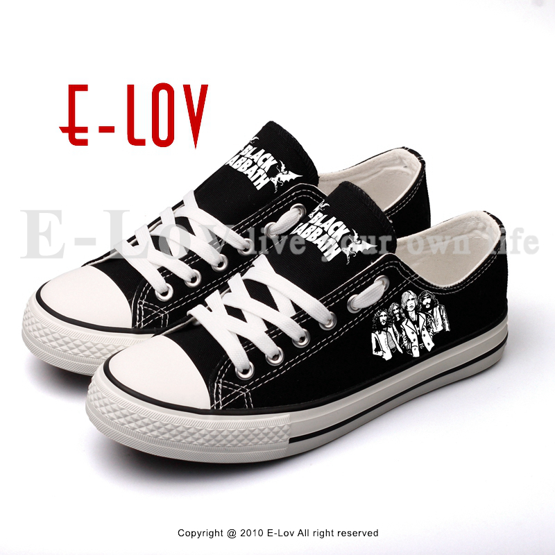 E-LOV Heavy Metal Rock Stars Printed Canvas Shoes Unisex Lace-up Black Casual Walking Shoes Women Plus Size