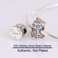 Fits for Pandora Beads Bracelets Song Bird Charms with 14K Real Gold 100% 925 Sterling Silver Jewelry Free Shipping