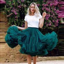 Милые пышные темно-бирюзовые миди тюлевые женские юбки Эластичная модная свадебная Тюлевая юбка подружки невесты оборки пачка Saias