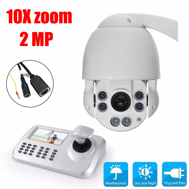 10x Optical Zoom HD 1080P Camera 2MP Medium Speed dome IP Camera CCTV PTZ IR security Outdoor Camera with Keyboard Controller image