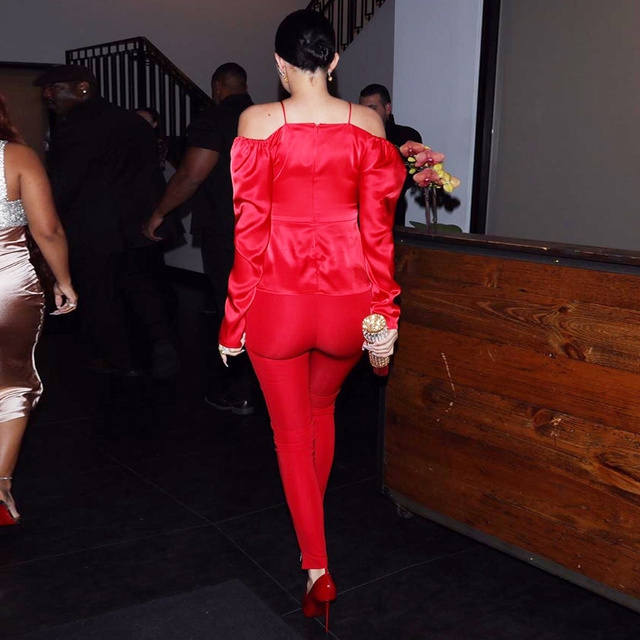 Satin Off the Shoulder Ruched Open Top Back Zipper Red Bardot Babe Top Inspired by Kylie jenner 2