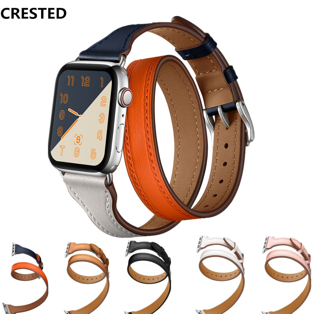 CRESTED Genuine Leather Double Tour Strap For Apple Watch 4 Band  44mm 42mm 40mm 38mm Iwatch series 4 3 2 1 Wrist Bracelet beltCRESTED Genuine Leather Double Tour Strap For Apple Watch 4 Band  44mm 42mm 40mm 38mm Iwatch series 4 3 2 1 Wrist Bracelet belt