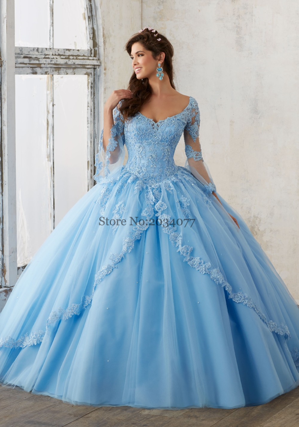 Pink Baby Blue Quinceanera Dresses Lace Long Sleeve Masquerade Ball ...