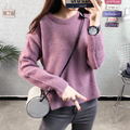 Hot Autumn Winter Fluffy Soft Women Bottoming Sweater Solid Color Pullover Side Slit Irregular Casual Female Top Jumper Knitwear