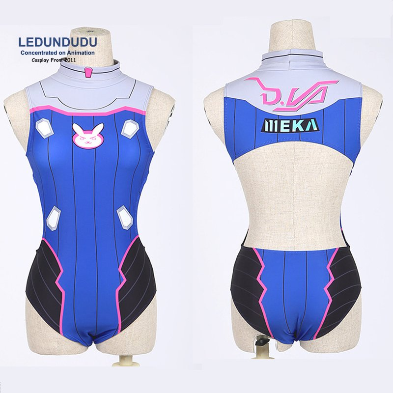 Fashion Games D.VA Mercy Angel <font><b>Cosplay</b></font> Costumes <font><b>Dva</b></font> <font><b>Sexy</b></font> Bathing Suit Swimsuit Swimwear Lycra Women Clothes image