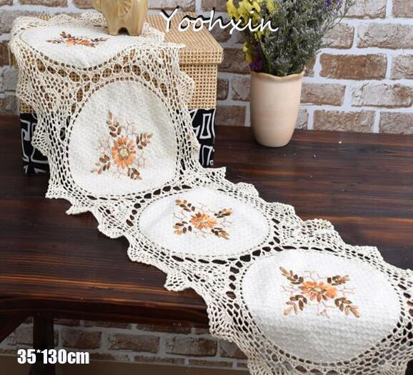 Vintage Lace Embroidery Bed Table Runner Flag Cloth Cover