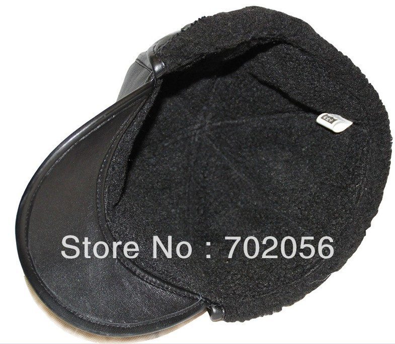 mens real sheepskin Leather Bomber Hats Caps casual HAT CAP 12pcs/lot #3105