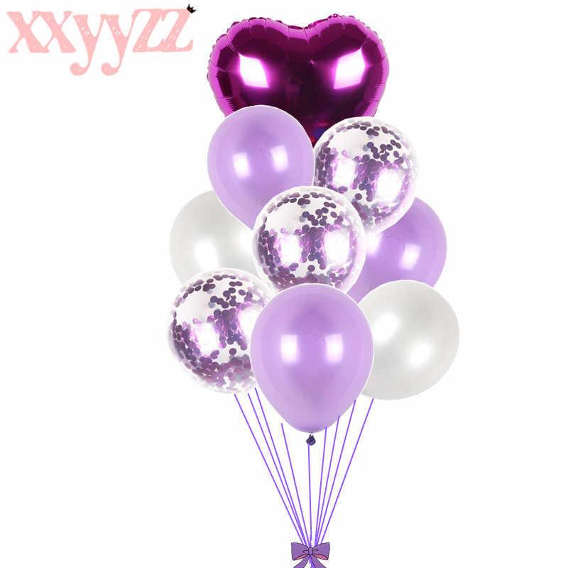 XXYYZZ 9 piezas mezcladas globos de boda rosa azul decoraciones de fiesta de cumpleaños para niños Baby Shower Boy Girl globo género