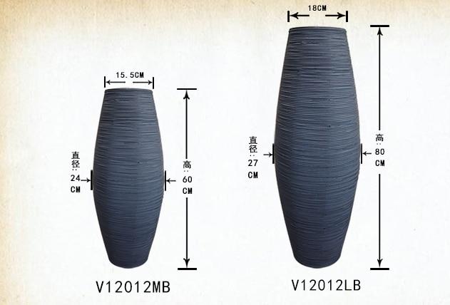 Kínai fehér és barna szürke bambusz padló váza nagy kézműves - Lakberendezés - Fénykép 6