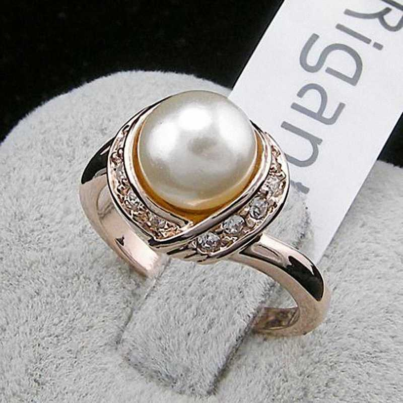 TracysWing Brand Austrian Crystal  Copper Wedding gold Color simulated pearl Rings for Women Vintage New Sale Hot RG93137
