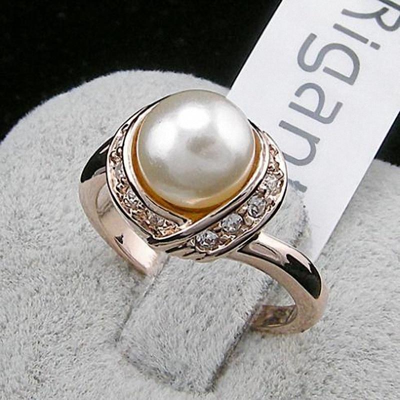 TracysWing márka osztrák kristály réz esküvői arany szín szimulált gyöngygyűrűk nőknek Vintage új eladó forró RG93137