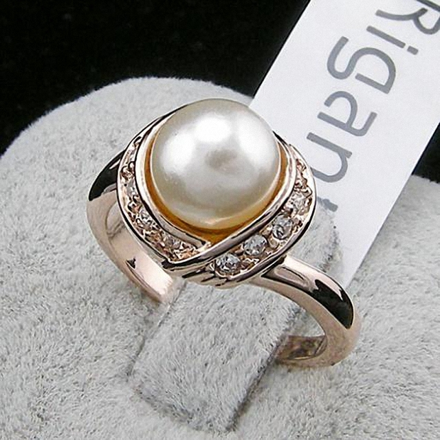 TracysWing Brand Austrian Crystal Copper Wedding gold Color simulated pearl Ring