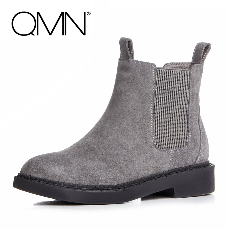 ФОТО QMN women genuine leather ankle boots for Women Natural Cow Suede Chelsea Boots Slip On Leisure Shoes Woman Bootie Botas 34-43