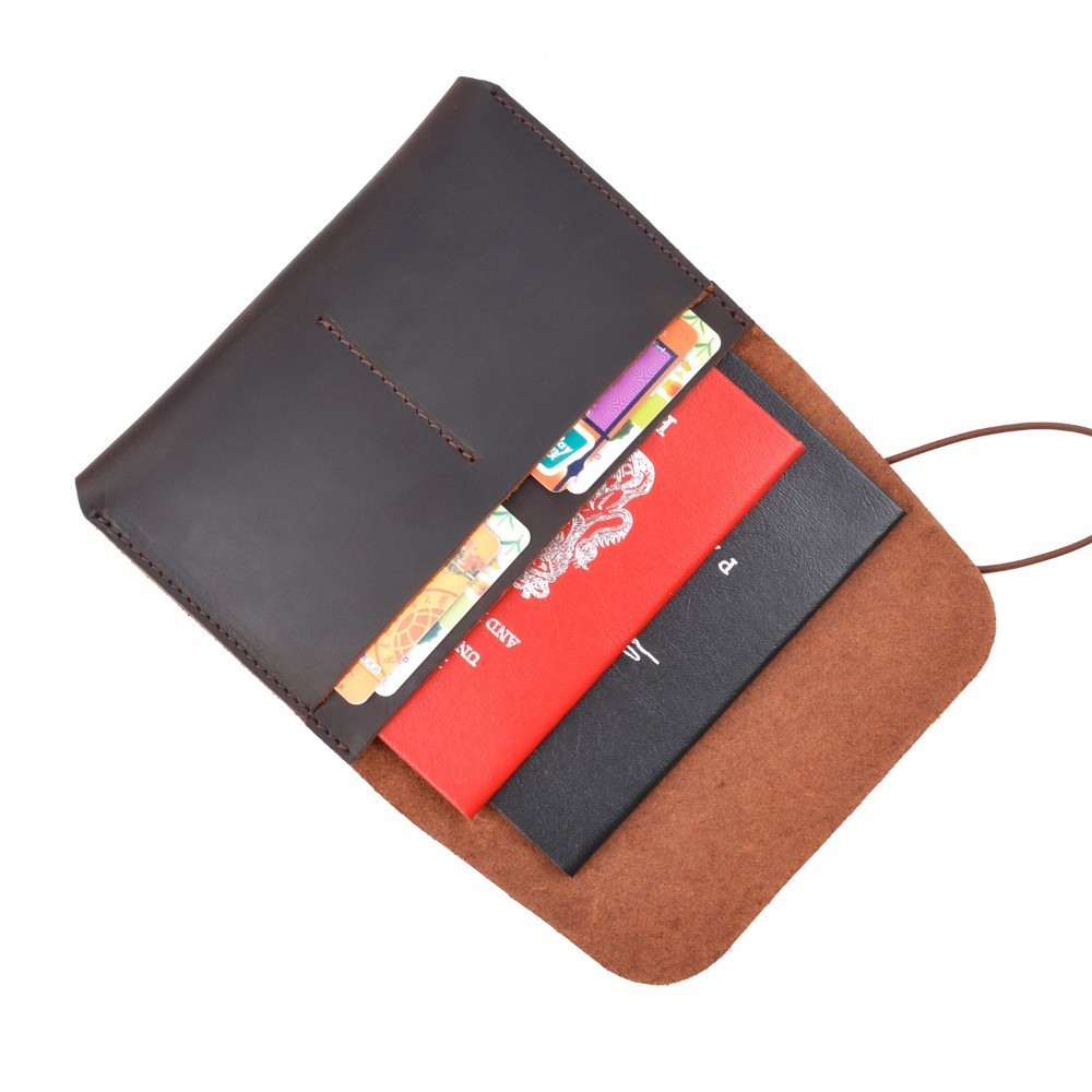 New Arrivals 100% Genuine Leather Passport Cover Solid Credit Card Holder Vintage Men Women Passport Case Business Travel Wallet