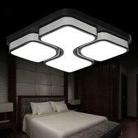 110 v/220 v quadrado acrílico conduziu a luz de teto branco/cor preta ferro conduziu a lâmpada do teto para sala estar moderna iluminação doméstica