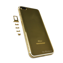 For iPhone 7 Plus 24K 24KT 24CT Gold Limited Edition Diamond Crystals Back Cover Housing Middle