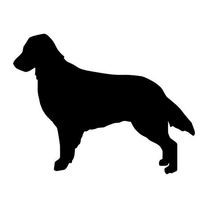 12.3*9.6CM Flat Coated Retriever Dog Vinyl Decal Silhouette Car Stickers Car Styling Accessories Black/Silver S1-0372