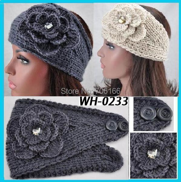 Rhinestone Handmade Crochet Bandana Winter Multi Function Headband