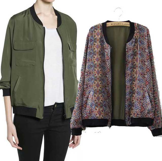 SexeMara Bomber Women Jacket Double Sided Wear Casual