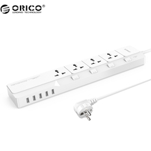 ORICO OSJ Universal Surge Protector With 5 USB Charger 4 Universal AC Plug Multi-Outlet Travel Power Strips -White