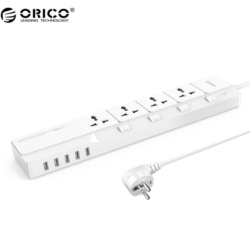 ORICO OSJ Универсальный защитный фильтр с 5 USB зарядное устройство 4 Универсальный AC Plug Multi-Outlet Travel power strips-белый