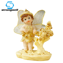 Strongwell Cartoon Gold Cupid Angel Doll Resin Craft Ornament Cute Baby Accessories Figurines Home Decor Birthday Gift Kids Toy free shipping baby twins angel pearls figures resin toy vivid lifelike cute cake home office car decor baby shower party gifts