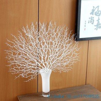 1 قطع جميلة مروحة الاصطناعي شكل البلاستيك المجففة فرع النبات الرئيسية الديكور زفاف هدية دون إناء f330