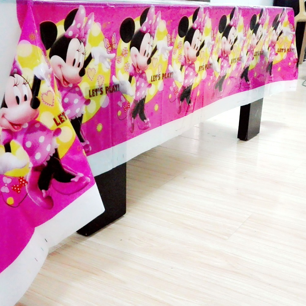108x180cm Minnie Mouse party disposable tablecloth birthday decorations kids minnie mouse supplies  baby shower