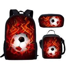 FORUDESIGNS Fire Foot Ball Soccer Basketball Prints 3Set School Bags