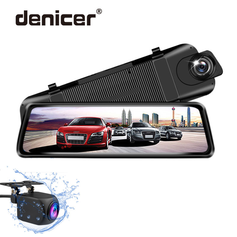 denicer Car DVR Camera 9 35 Touch Screen Stream Media Rear View Mirror FHD 1080P Dash