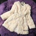 GTC215 Genuine Rex Rabbit Women Fur Coat Long Female Natural Rabbit Fur Jacket Ladies Winter Real Rabbit Fur Waistcoat Overcoat