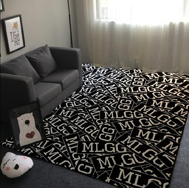 Super soft flannel fashion letters mat creative black and - Black and white living room rug ...