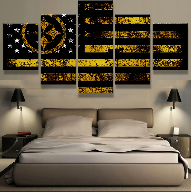 5 Panel Pittsburgh Steelers Spor Flag Logo Modern Home Wall Decor Canvas  Picture Art HD Print Painting On Canvas For Living Room In Painting U0026  Calligraphy ...