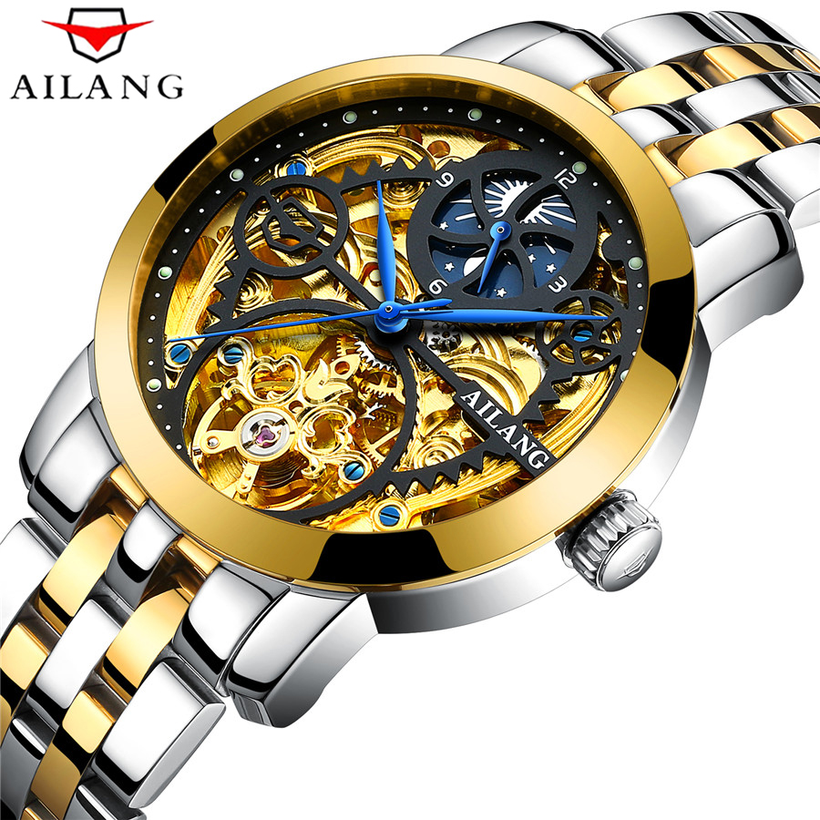 New Tourbillon Men Watches AILANG Top Brand Skeleton Mechanical Sport Watch All Steel Waterproof Luminous Automatic Wrist Watch goer brand skeleton man automatic watch men s wrist square watch leather mechanical waterproof luminous digital