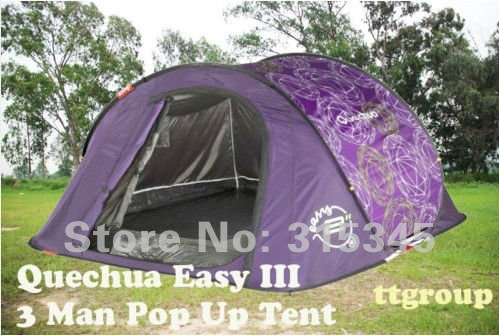 Quechua Waterproof Pop Up C&ing Tent 2 Seconds Easy III 3 Man Double Lining & Quechua Waterproof Pop Up Camping Tent 2 Seconds Easy III 3 Man ...