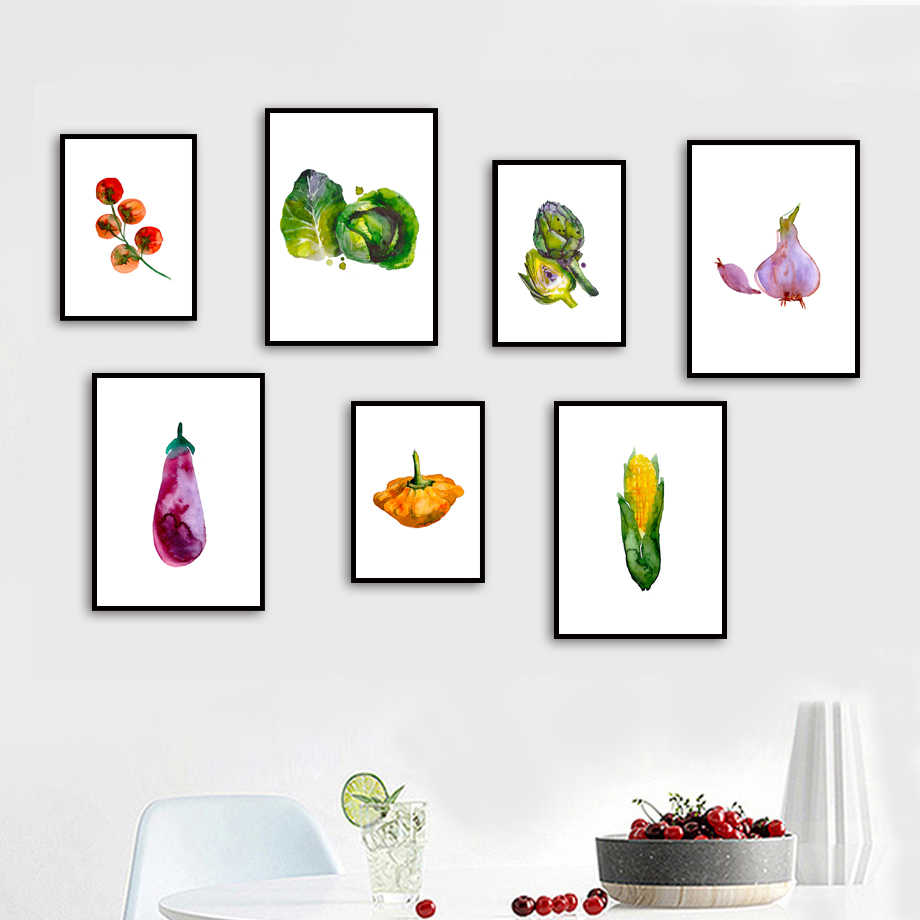 Gohipang Watercolor Fruit Vegetable Nordic Posters And Print Wall Art Canvas Painting Wall Pictures For Living Room Kitchen Room