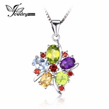 JewelryPalace Flower Multicolor three.1ct Pure Amethyst Garnet Peridot Citrine Blue Topaz Pendant 925 Sterling Silver Jewellery