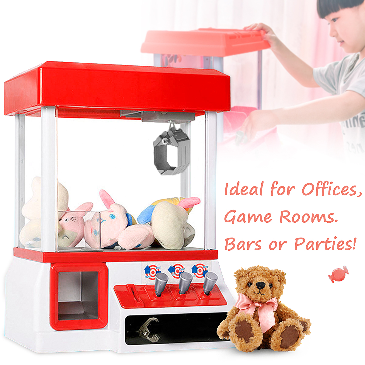 Prize Machine Game Kids Toy Carnival Style Vending Arcade Claw Candy Grabber Coin Operated Games high quality electronic coin operated amusement park equipment kids children video arcade game machine for sale
