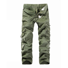 Casual Cotton Full Length Men's Cargo Pants Regular Mid Waist Solid Pants Loose Men Pants Cotton Masculina Male Clothing D40