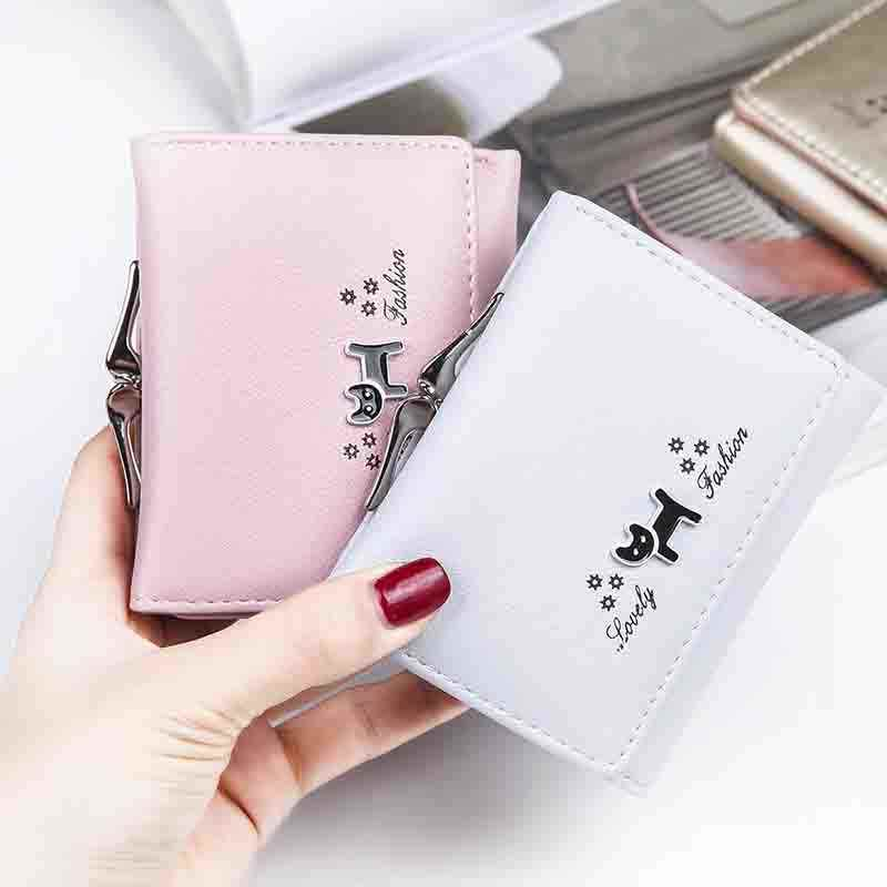 5ff8ce8f0ee ... Small Purse Female Black Cat Mini Wallet Girls Cute Leather Hasp Purse  Lady Card Holder Women ...