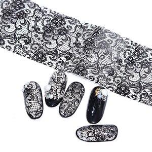 Image 5 - 100cmx4cm Black Lace Transfer Foil Nail Art Sexy Full Wraps Flower Glue Adhesive DIY Manicure Slider Decoration Tools BELB03 1