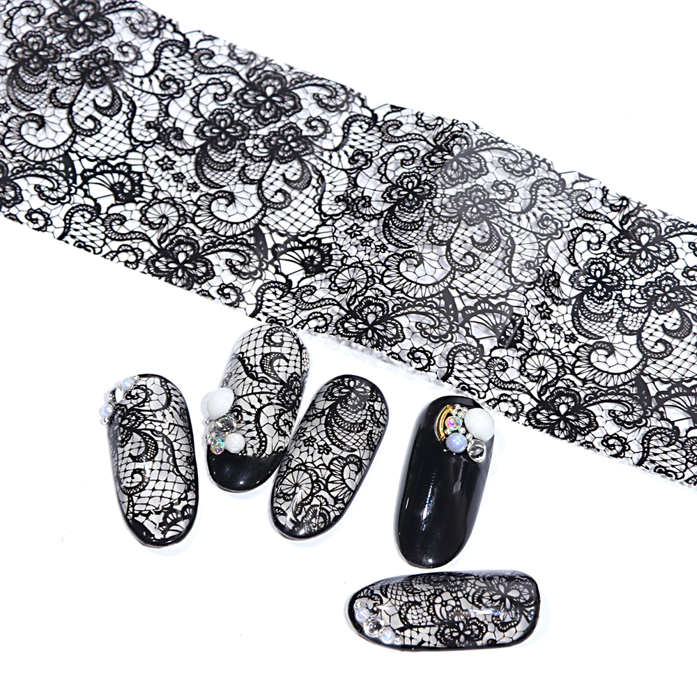 Image 5 - 100cmx4cm New 2019 Black Lace Transfer Foil Nail Art Sexy Full Wraps Flower Glue Adhesive DIY Manicure Styling Tools BELB03-in Stickers & Decals from Beauty & Health