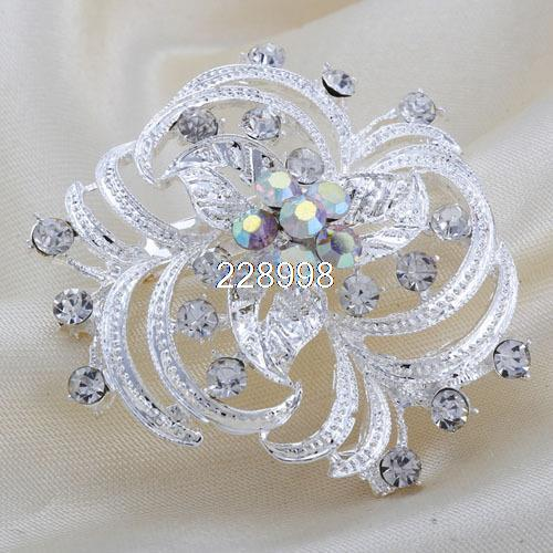 Hot Sale Fashion Women Shining Exquisite Silver Rhinestone Flower Wedding Party Brooch,Cheap Brooch For Ladies,Free Shipping
