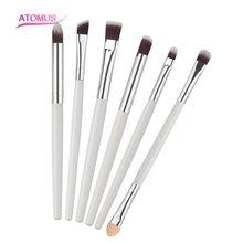 6Pcs Professional Makeup Eyeliner Eyeshadow Cosmetic Eye Brushes Tool Make-Up Toiletry Kit Set Women Beauty Maquiagem White