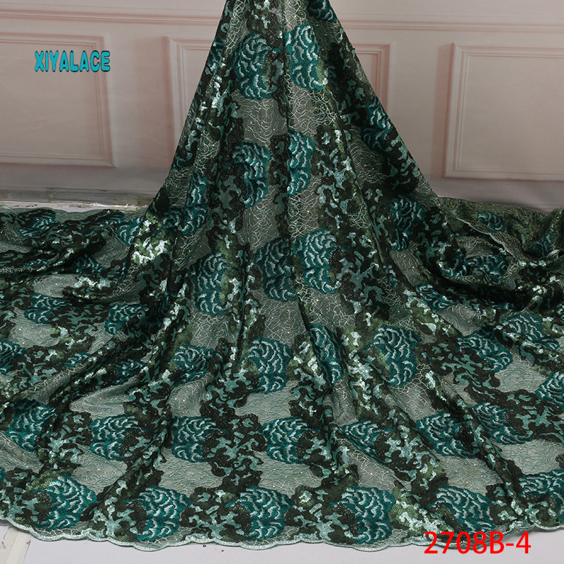 Green African Sequins Lace Fabrics 2019 High Quality Lace Nigerian Tulle Lace Fabric Bride French Net Lace Fabric YA2708B-4
