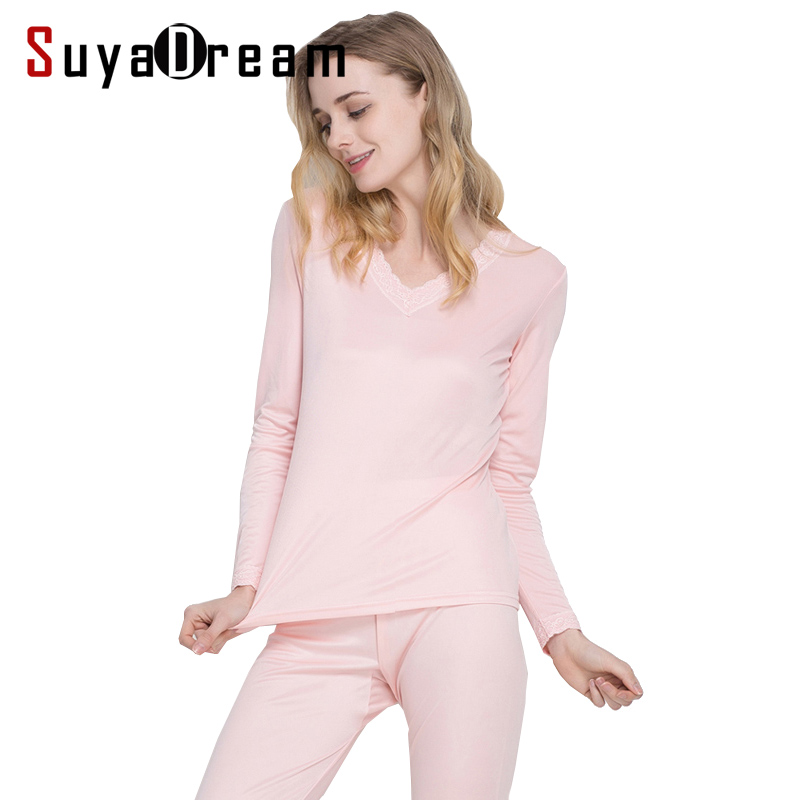 100 REAL SILK Women long johns Health silk Intimates suit Long sleeve sleep wear cueca 2018